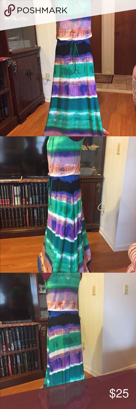 Calvin Klein dress Calvin Klein purple green and white stripe dress size XS asking price $25.09 Calvin Klein Dresses Mini