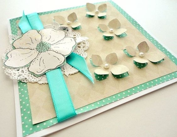 Aqua Blue and Taupe Flower blank inside Greeting by stephanieh02, $3.75