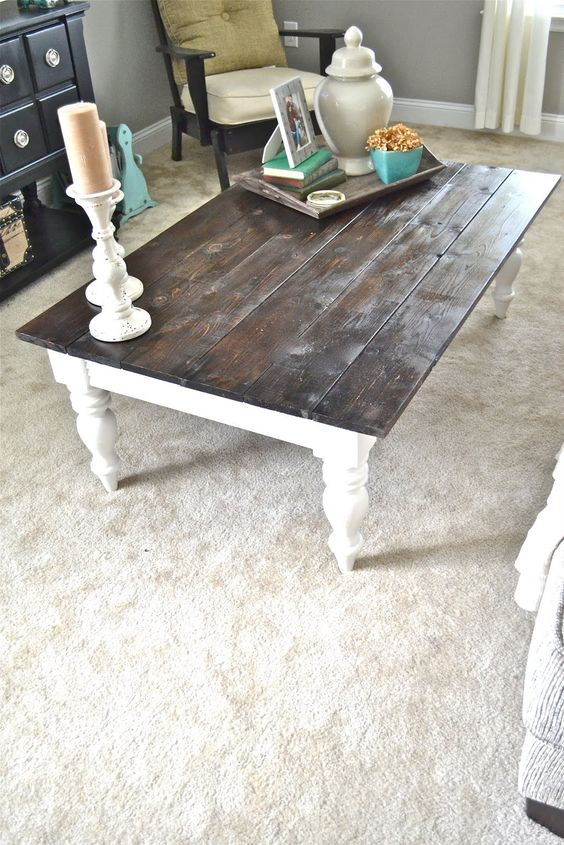 Awesome White Table With Dark Wood Top Part - 12: Warm Wood U0026 White | Cedar Fence Posts, Refurbished Coffee Tables And Coffee