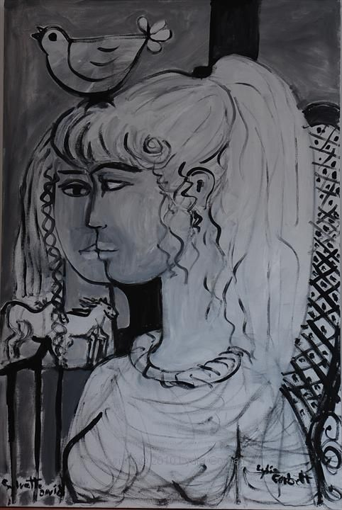 Sylvette and Lydia . Acrylic on canvas . Lydia Corbett