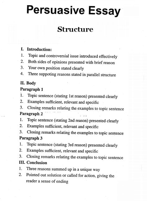 Persuasive Essay Format Writing Skill A Outline How To Write College University Argumentative Level