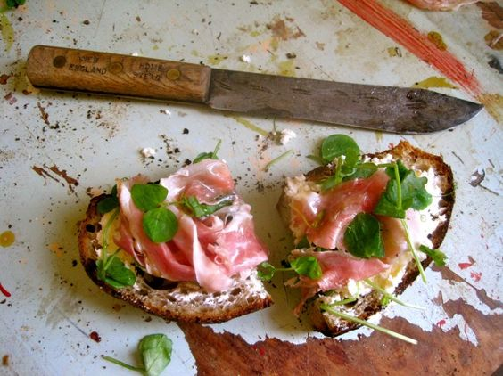 The Emma Woodhouse Ham crostini with ricotta, pea shoots ...