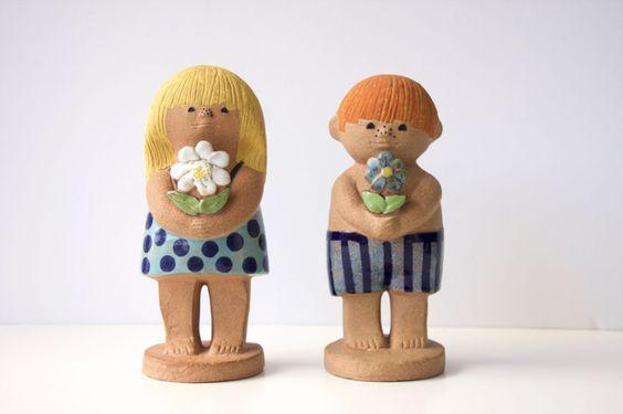 Lisa Larson Gustavsberg Pottery Sweden Adam & Eva 2 Set Large | eBay