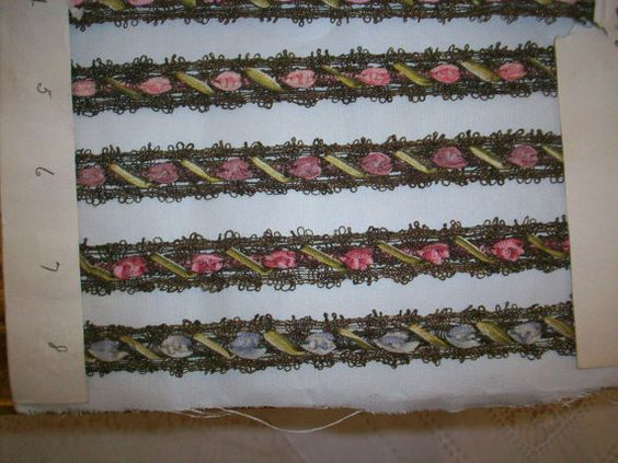 made in France in the 1910s. sold by the color. lovely shades trim is about 1/2 wide. The whole collection or a few of them would be wonderful