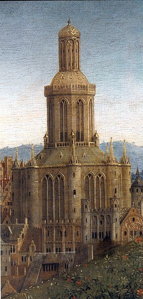 "Jan van Eyck   ""Ghent Altarpiece"", finished 1432.  Detail: church in the background:"