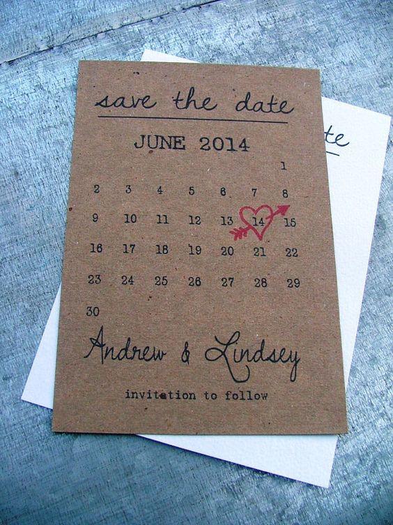 Kalender speichern die Date-Karten Herz Datum von sweetinvitationco