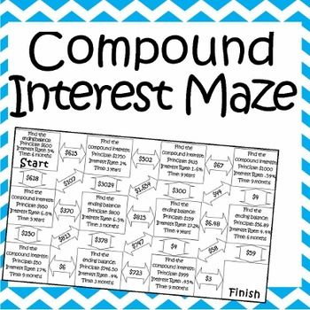 Printables Calculating Compound Interest Worksheet maze student and the ojays on pinterest this is a composed of 11 compound interest problems it self checking worksheet that allows students to strengthen their skills at calculating