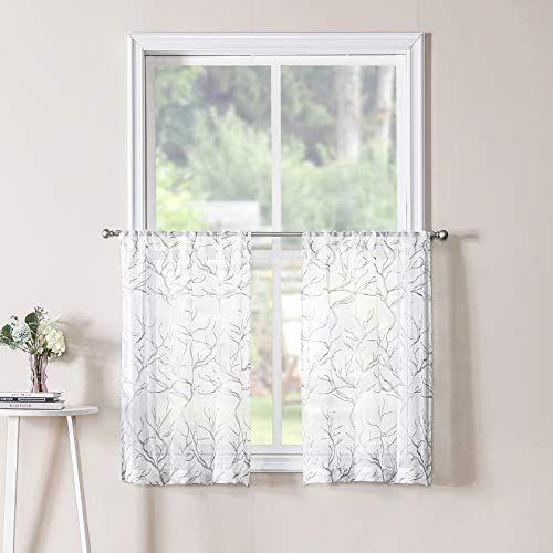 Tollpiz Short Sheer Tier Curtain Grey Tree Branches Half Window Curtains Faux Linen Rod Pocke Curtains Grey Curtains Half Window Curtains