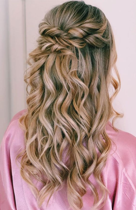 28 Captivating Half Up Half Down Wedding Hairstyles Wedding Hairstyle With Braids Wedding Hairstyl Wedding Hairstyles For Long Hair Half Up Hair Hair Styles