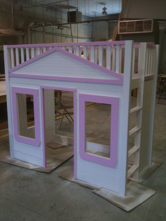 Diy loft bed playhouse for the kids obviously we 39 d have to for Diy childrens indoor playhouse