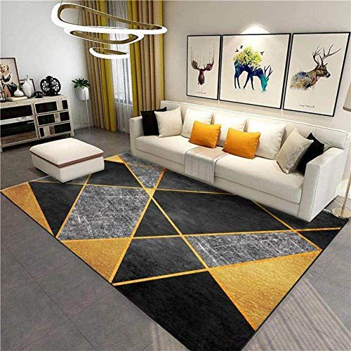 Soft And Modern Living Room Carpet Large Geometric Stitching Dark Gray Gold Easy To Clean Short Carpet 6 Modern Living Room Living Room Carpet Room Carpet