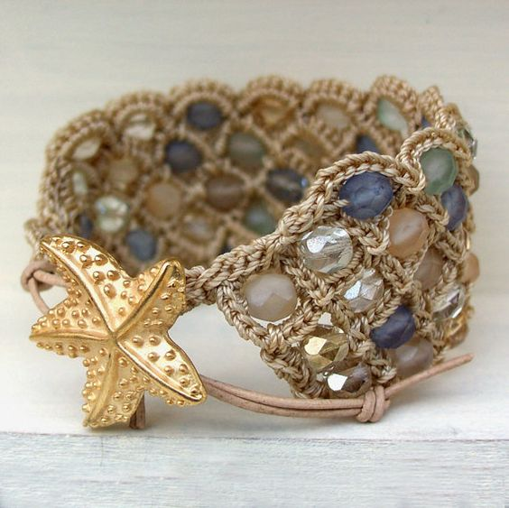 Bohemian Cuff Bracelet with Beach Glass Beads and Starfish Closure by GlowCreek