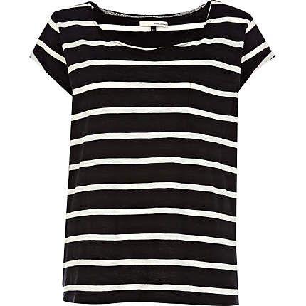 black stripe roll back sleeve t-shirt - short sleeve t-shirts - t shirts / vests / sweats - women - River Island