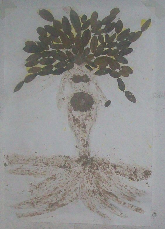 Pintura com terra, barro. Colagem com folhas secas.