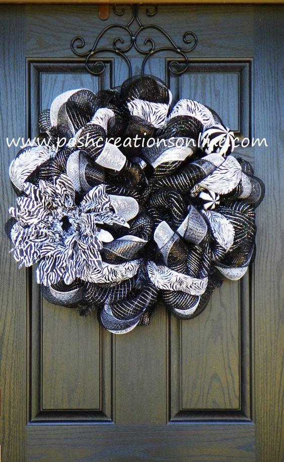 Zebra Print Deco Mesh Wreath by poshcreationsKY on Etsy, $69.00