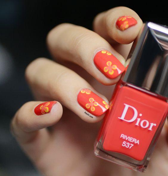 Floral Dior Nail Art