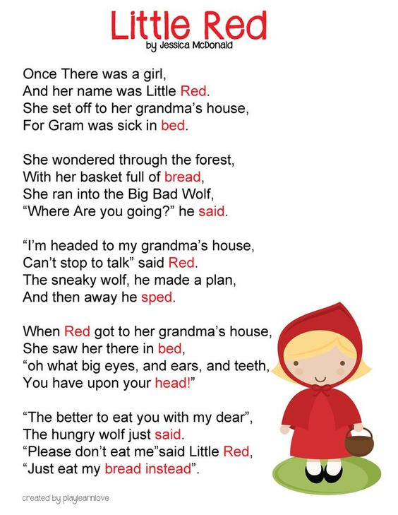 Little Red Riding Hood Poem *Free Printable* : Fairy Tale Lesson ...