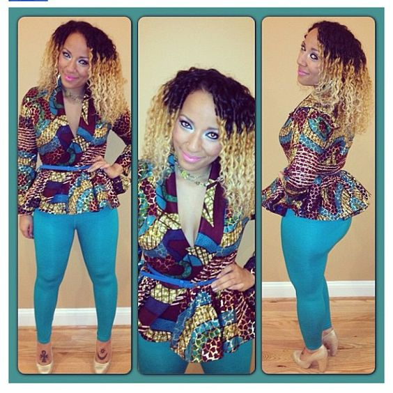 african print peplum and blue skinnies:
