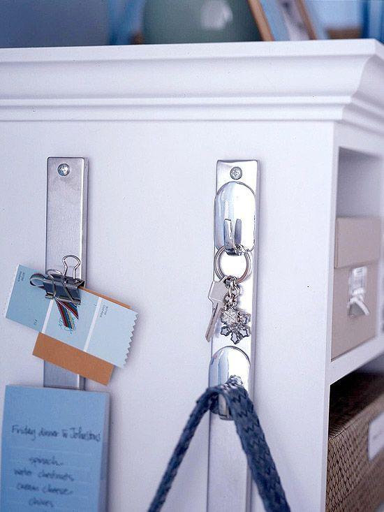 magnetic knife holder turned hook organizer, clever!
