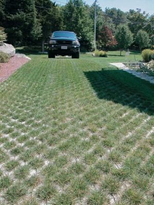 DRIVEWAY: open-cell concrete grid driveways. IDEAL CONCRETE BLOCK COMPANY. The open-cell concrete grid of this driveway protects roots from compaction, which would eventually kill the grass.