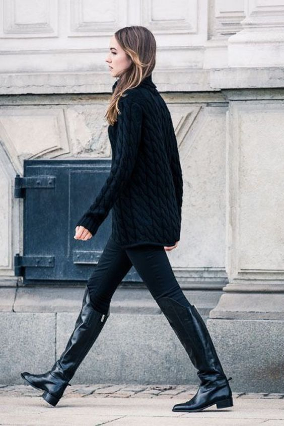black cable knit cozy sweaters