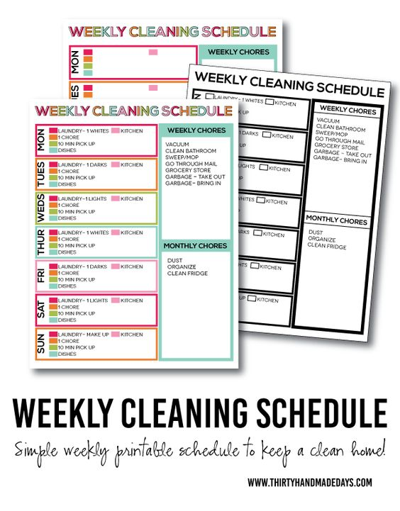weekly monthly cleaning schedule