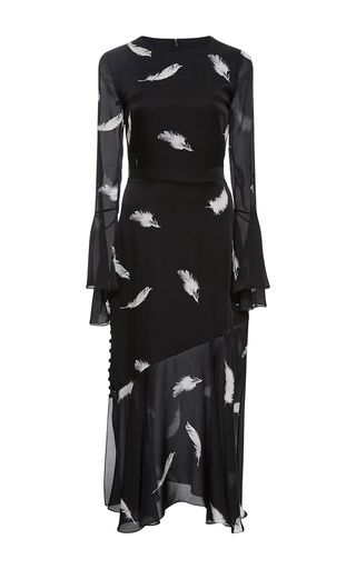 Ruffle Crewneck Dress With Slit   by PRABAL GURUNG for Preorder on Moda Operandi