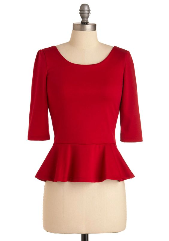 I Can Seed Clearly Top in Cherry - Mid-length, Red, Solid, Exposed zipper, 3/4 Sleeve, Ruffles, Casual