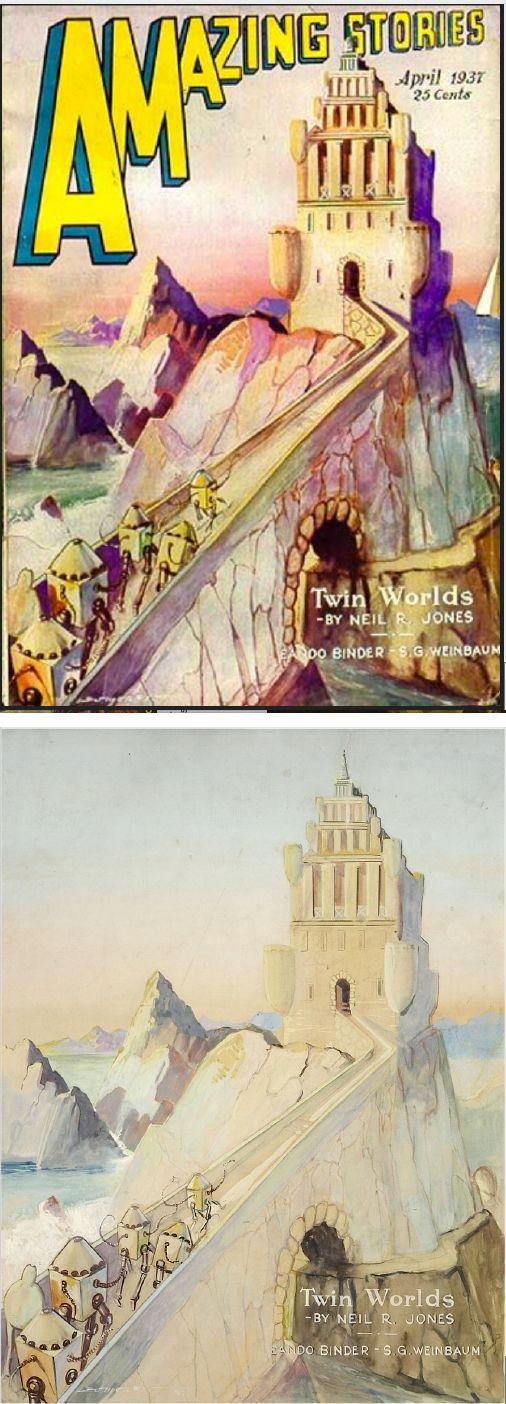 LEO MOREY - Twin Worlds by Neil R. Jones - April 1937 Amazing Stories