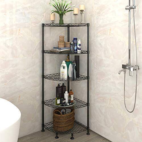 Lifewit 5 Tire Corner Wire Shelf Bathroom Corner Shelf Free
