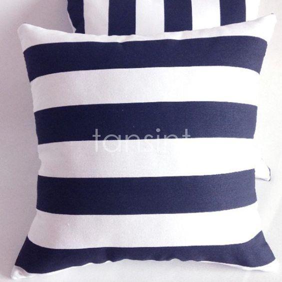 "Navy Blue White Stripe Pattern Throw Decor Cushion Cover Pillow Case 18""x45cm"