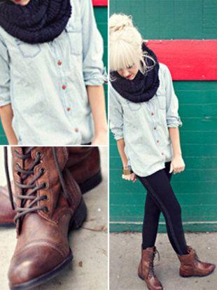 boots and denim shirt.
