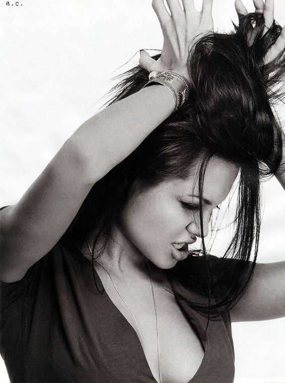 Angelina Jolie hair black and white