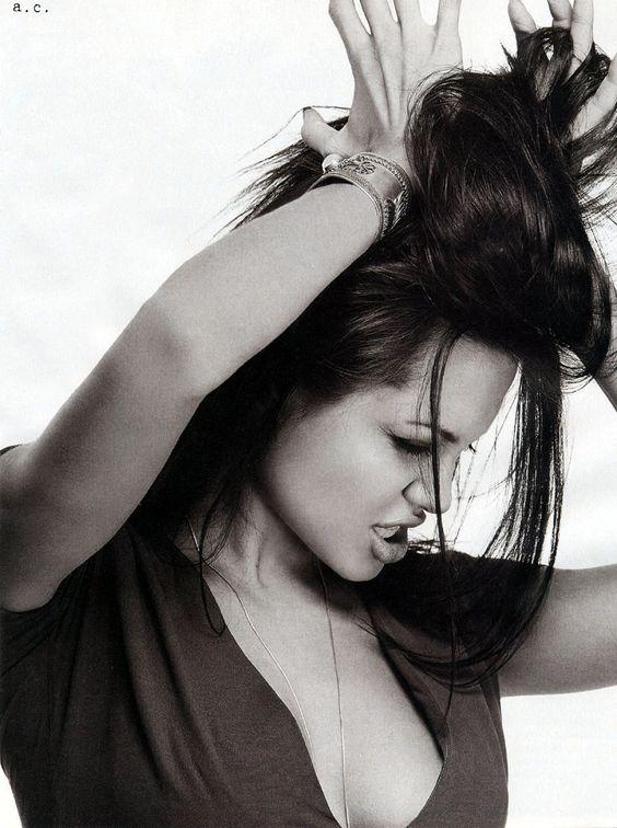 Angelina Jolie hair black and white