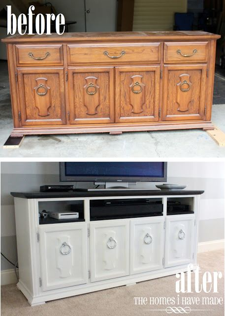 Turn an old dresser into an entertainment center! Remove the drawers, paint the entire dresser (along with the inside of where the drawers used to be) and swap out the old handles: