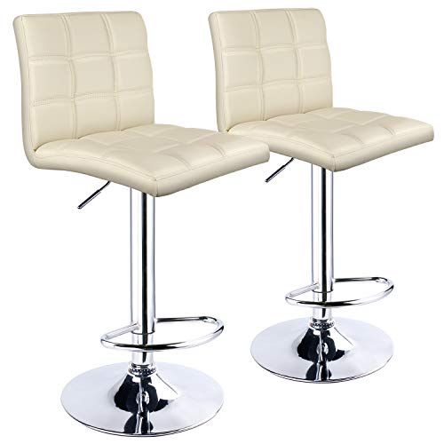 Leopard Adjustable Bar Stools Square Back Pu Leather Padded With