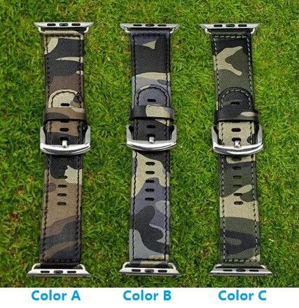 Camouflage Leather Apple Watch Band Navy Army Air Force Cam Sport Casual Bracelet Strap For iWatch Wachband With Adapter