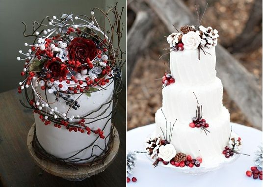 Winter Wedding Pinterest: Winter Berry Wedding Cakes By Amy Swann Cakes (left) And
