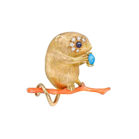 Estate Betteridge Collection 18k Gold Field Mouse on Coral Branch: