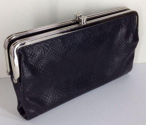 2495 hobo international lauren embossed double frame clutch wallet black floral hobointernational hobo luxe sold - Double Frame Clutch Wallet