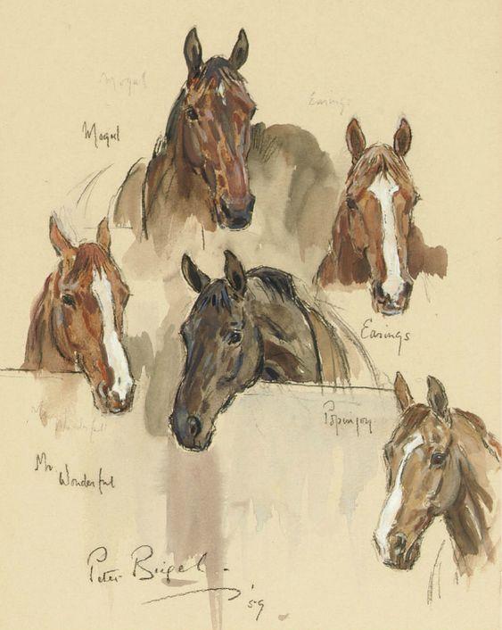 Peter Biegel (1913-1988) - Horse portraits. Pencil/watercolour/bodycolour, 27,6 x 23,5 cm. 1959.