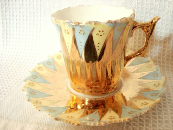 Vintage Gold Lustreware Demitasse Cup and Sauce