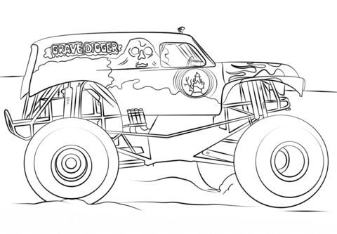 Grave Digger Monster Truck Coloring Page From Monster Truck