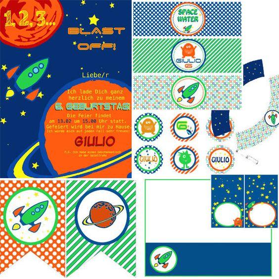 Spazio e Alieni - decorazioni festa astronauta - invito festa spazio  - Printable Set Party Kit  PDF. $29.00, via Etsy.