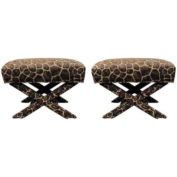 Image of X-Form Faux Giraffe Benches - Pair