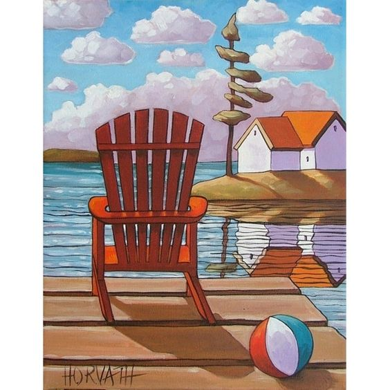 PAINTING ORIGINAL Red Deck Chair Summer Cottages Modern Folk Art Landscape Fine Artwork  Abstract by Cathy Horvath Buchanan 11x14