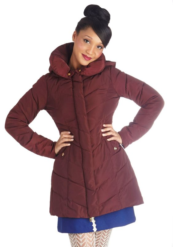 When in Roam Coat in Burgundy. Despite the abiding chill on your holiday to high altitudes, you are more than happy to get out and explore when you're wearing the chevron quilting of this burgundy puffer coat by Steve Madden! #red #modcloth
