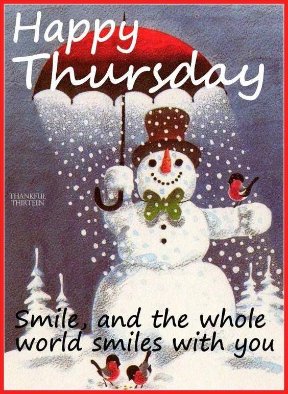 Winter Snowman Happy Thursday
