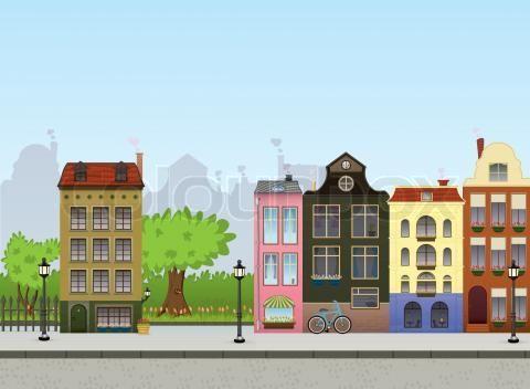 Cartoon Street Scene Stock Vector Of Town Scene Cartoon Memmorie Lane Project