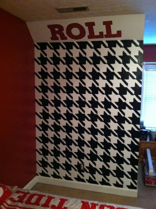 Roll tide houndstooth mural sports pinterest for Alabama football mural